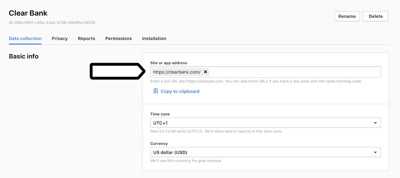 Site or app address (Administration)