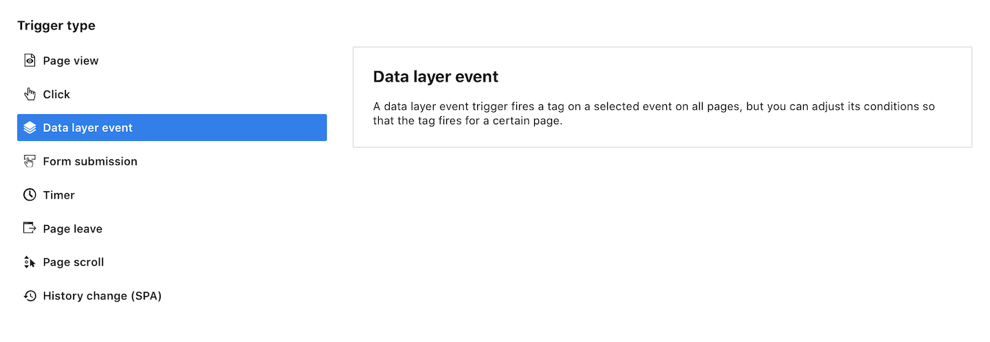 A data layer event trigger in Piwik PRO
