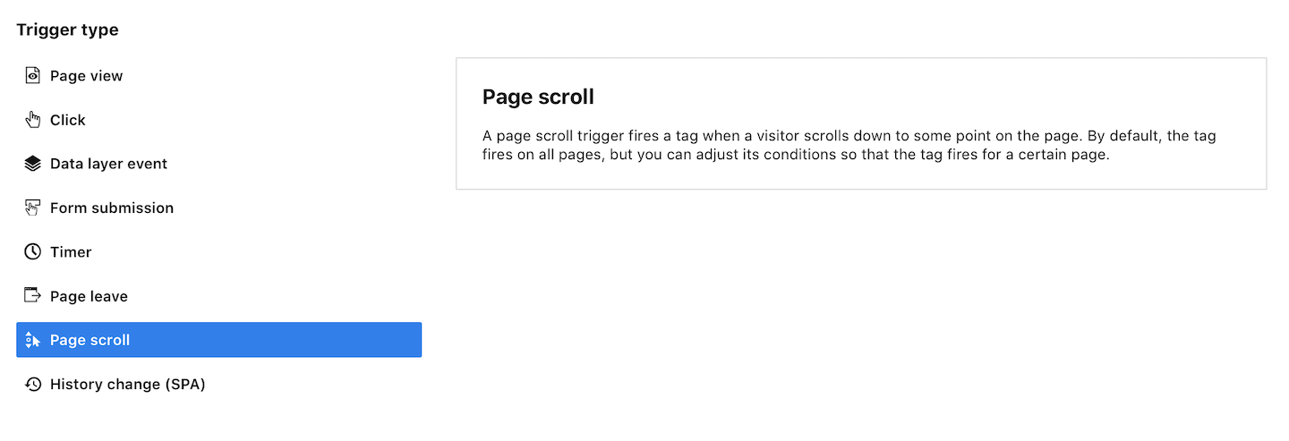 A page scroll trigger in Piwik PRO