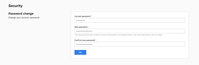 Password change in Piwik PRO