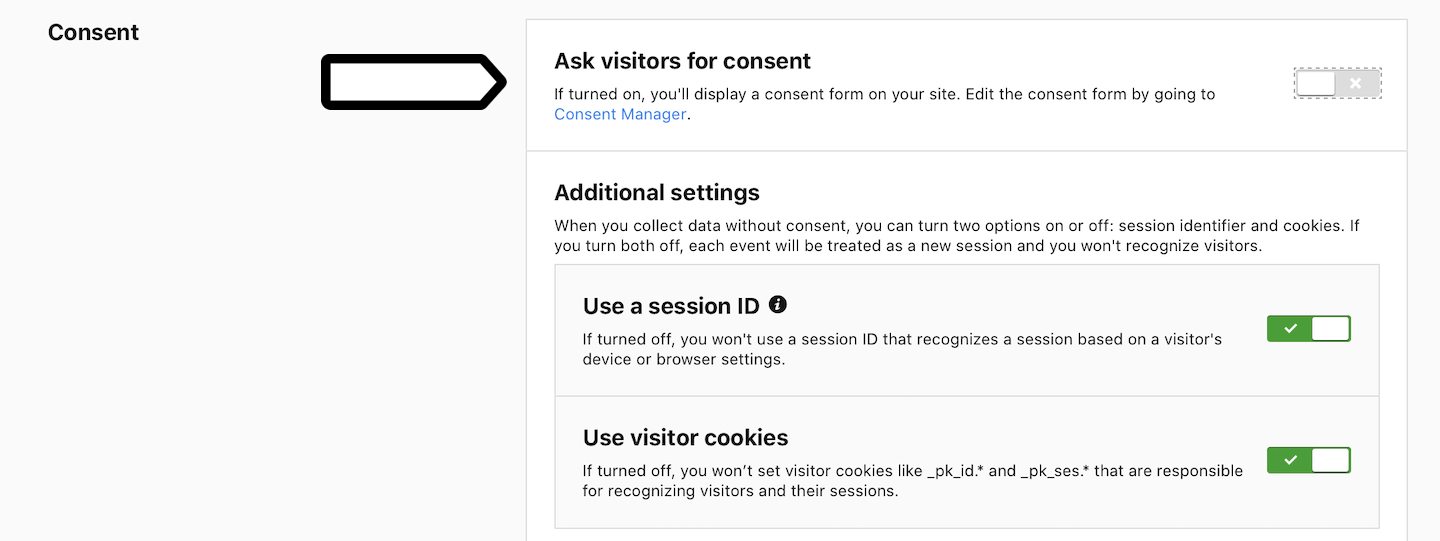 Ask visitors for consent (off)