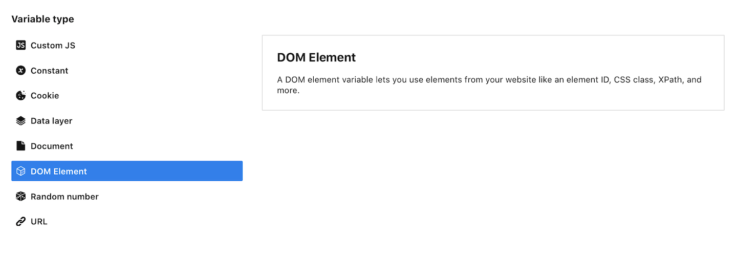 DOM element variable in Piwik PRO