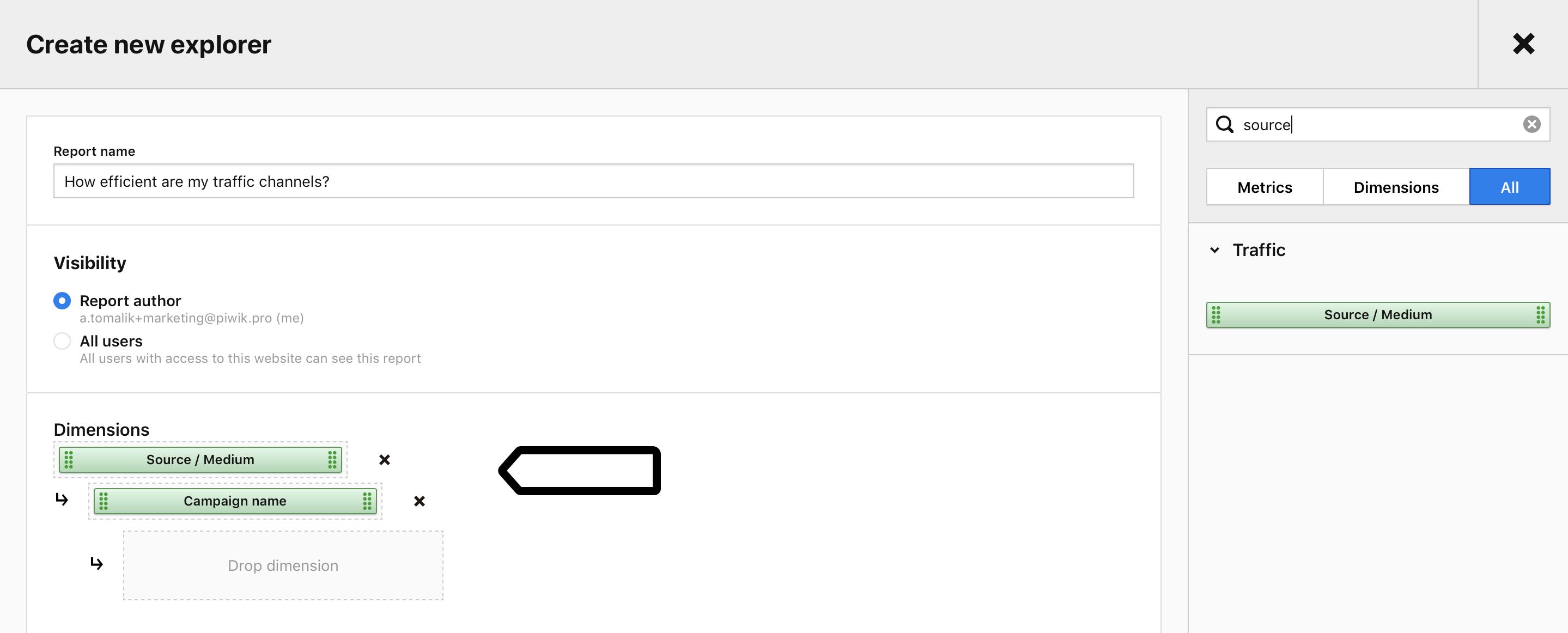 Adding dimensions in Custom Reports