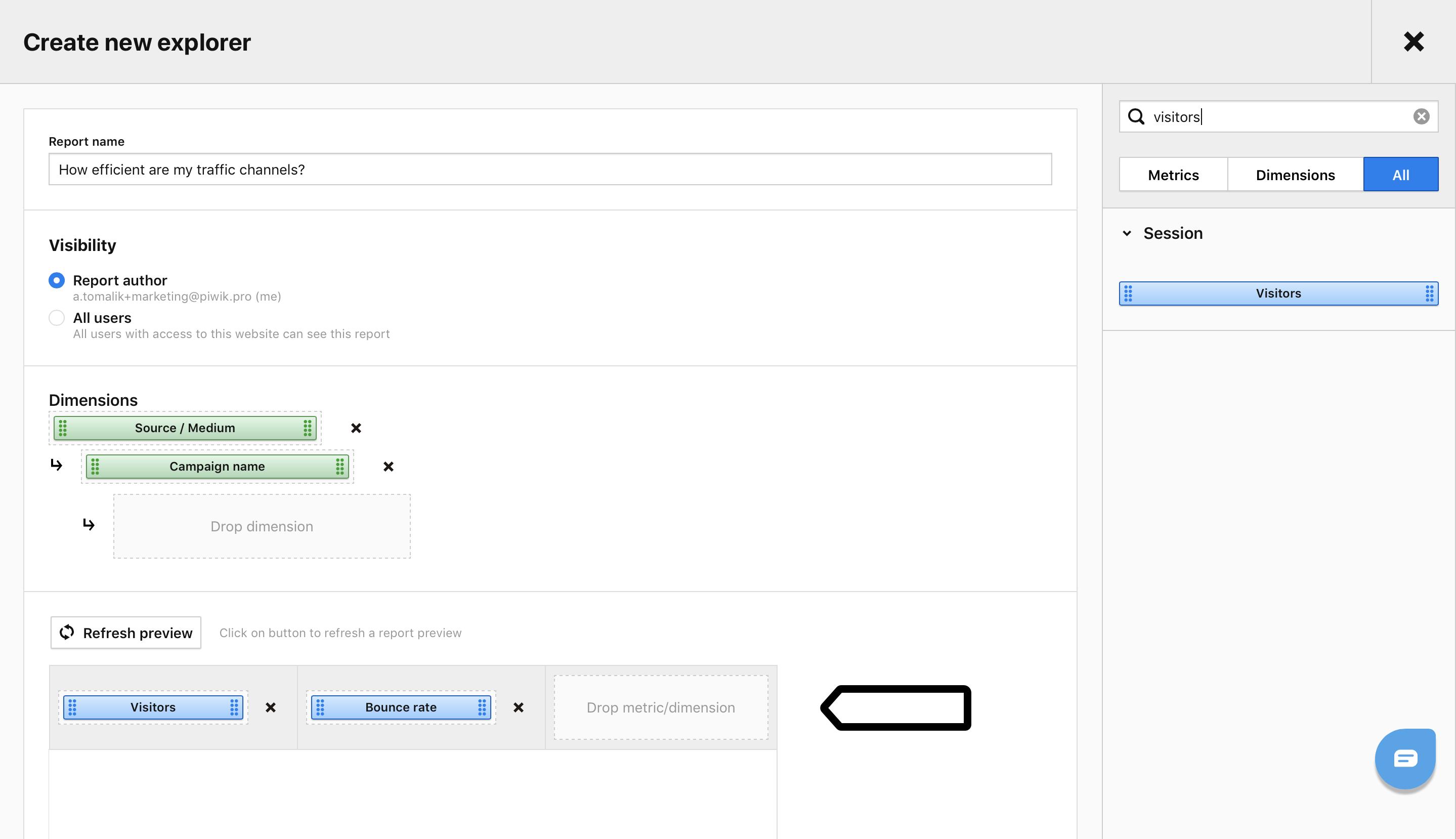Adding metrics in Custom Reports