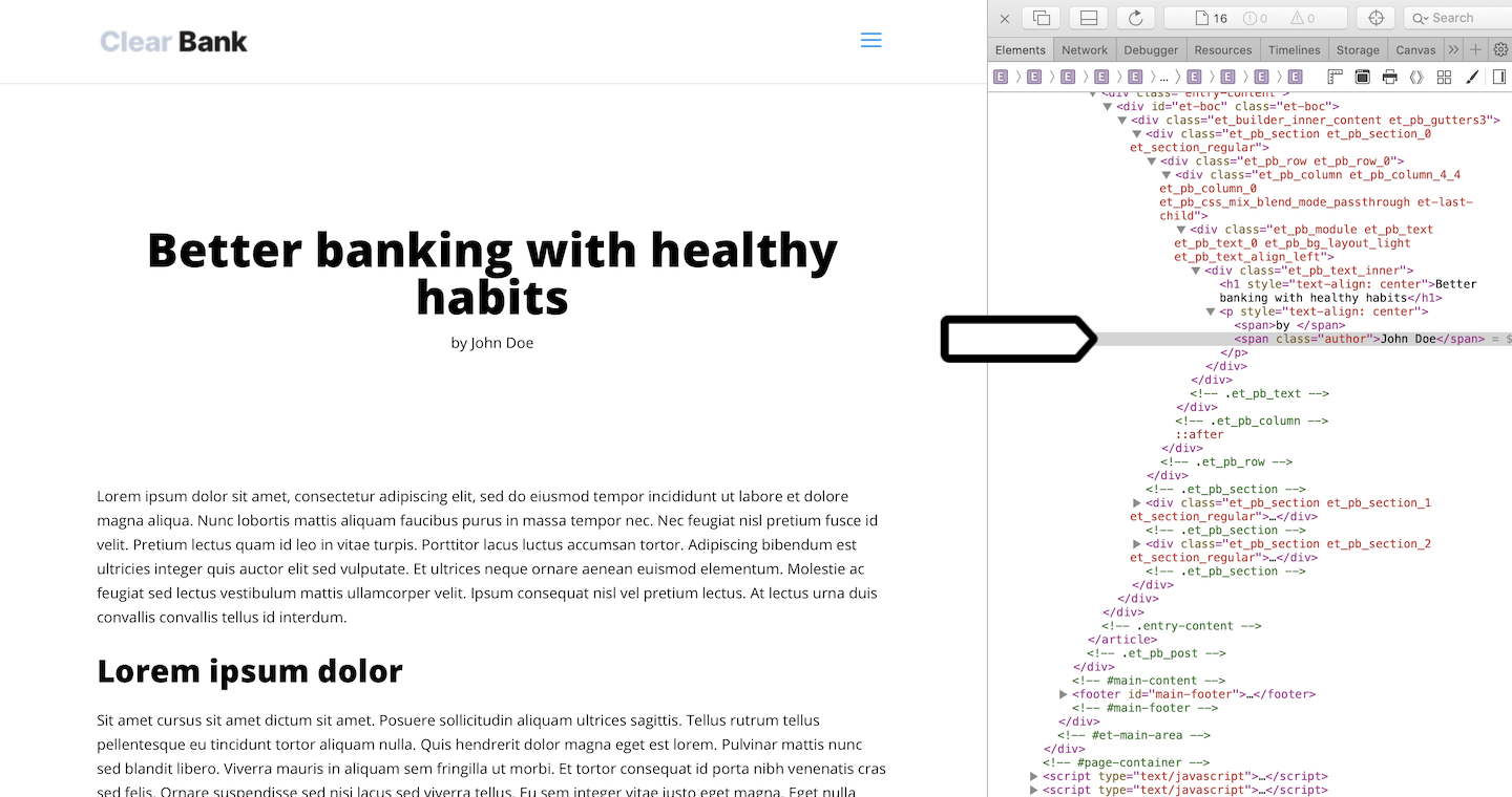 A source code on the Clear Bank website.