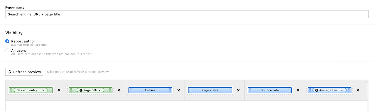 A setup for a search engine: URL + page title report.