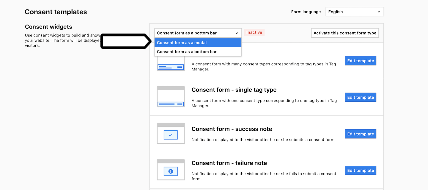 Consent form as a modal in Piwik PRO