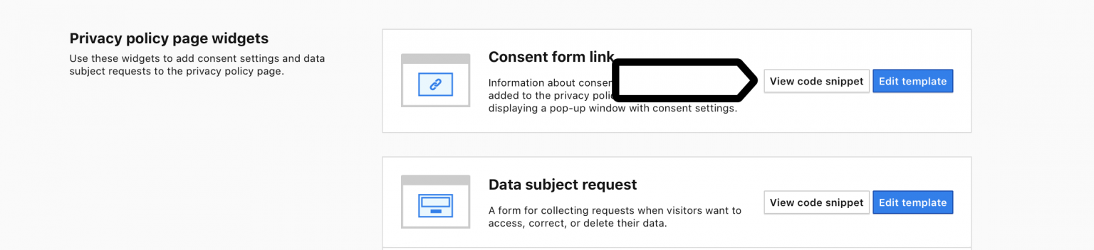 Consent form link in Consent Manager in Piwik PRO