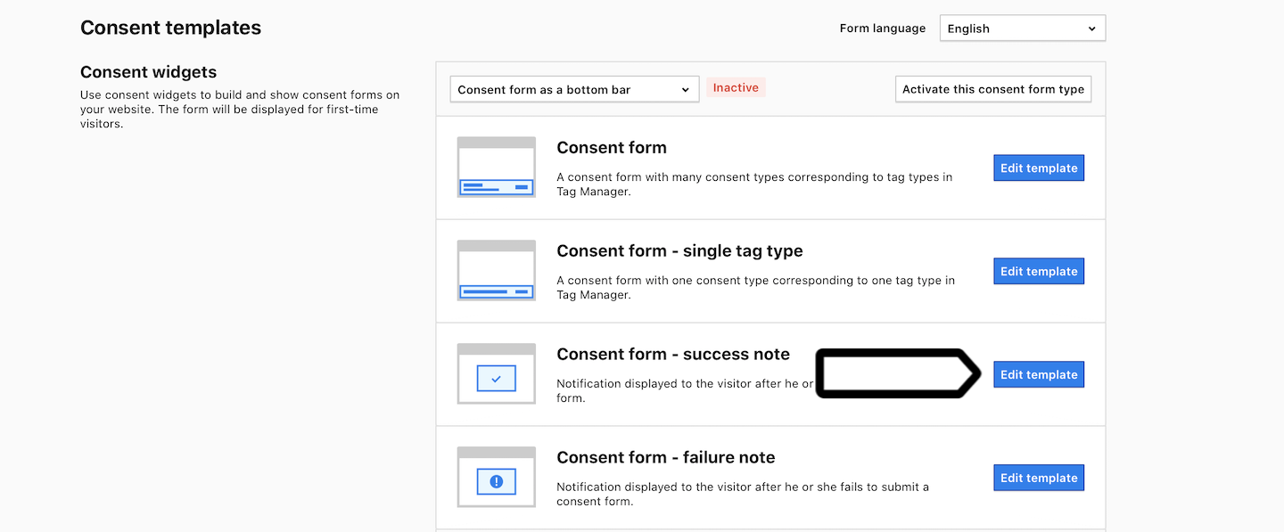 Consent form as a bottom bar in Piwik PRO