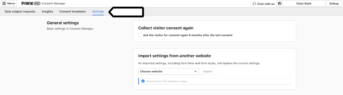 Import settings in Consent Manager in Piwik PRO