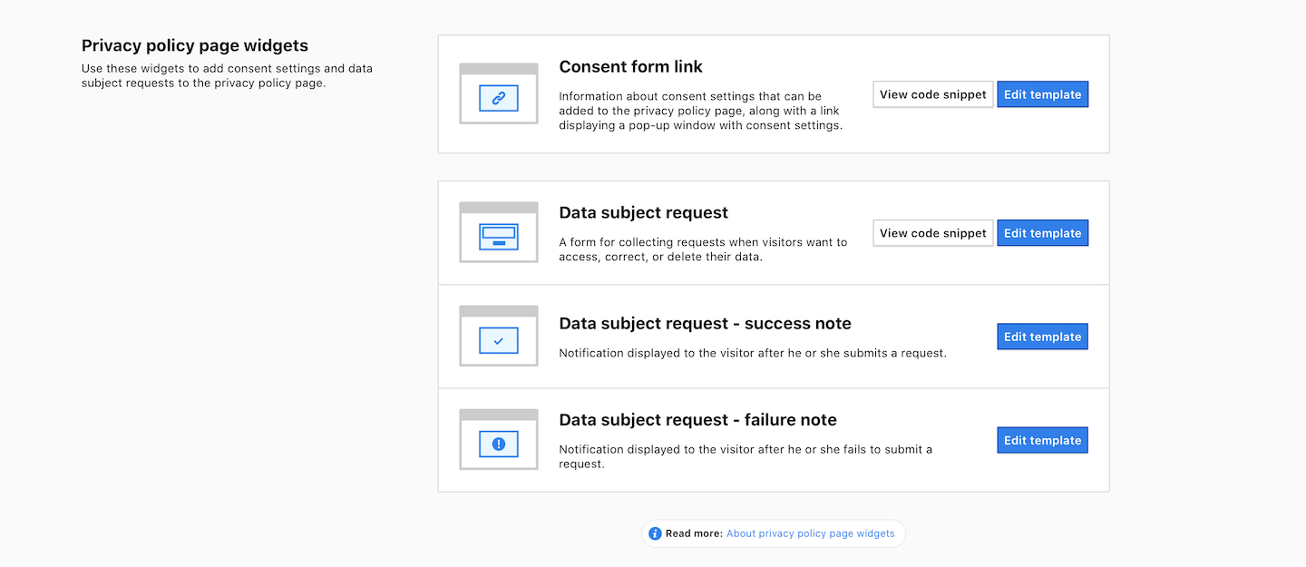 Privacy policy page widgets in Consent Manager.