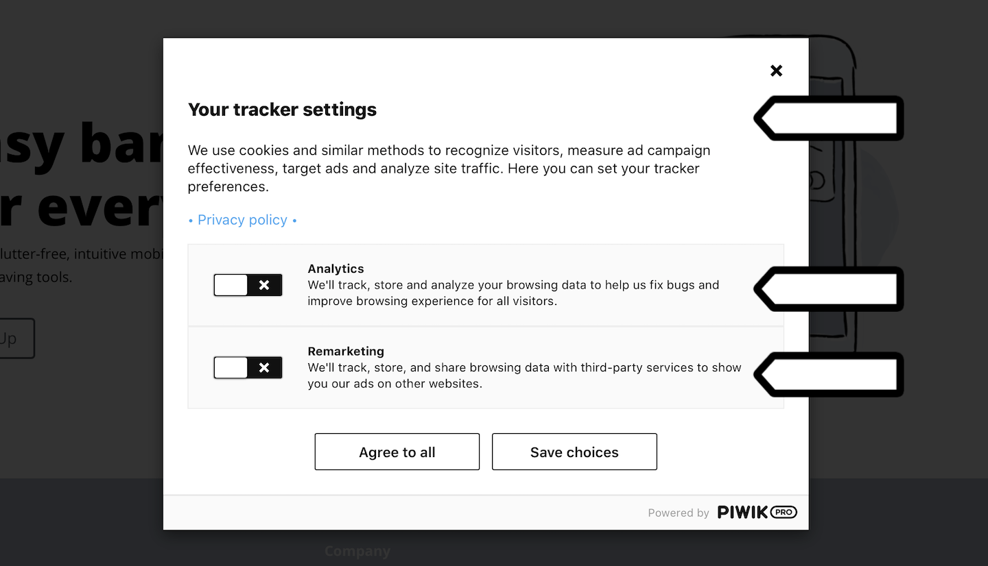 Consent form in Piwik PRO