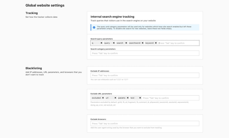 Global website settings in Piwik PRO