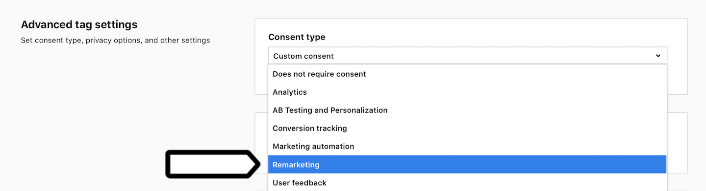 Remarketing consent type in Piwik PRO