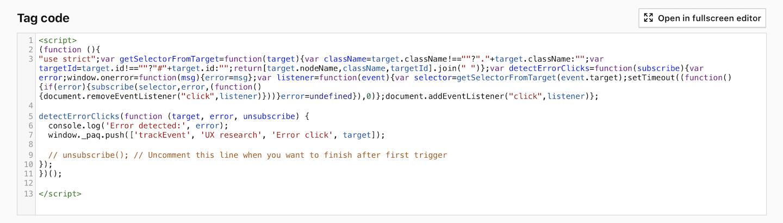 Custom tag for detecting error clicks in Piwik PRO