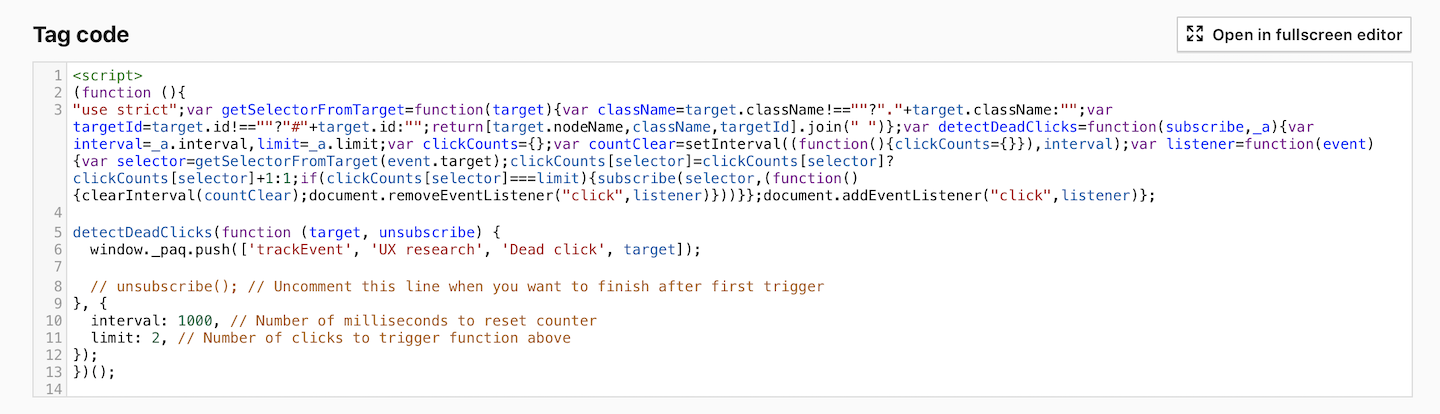 Custom tag for detecting dead clicks in Piwik PRO