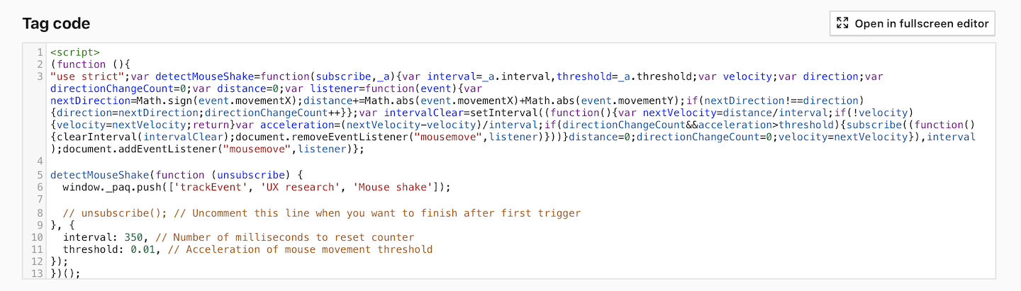 Custom tag for detecting mouse shakes in Piwik PRO