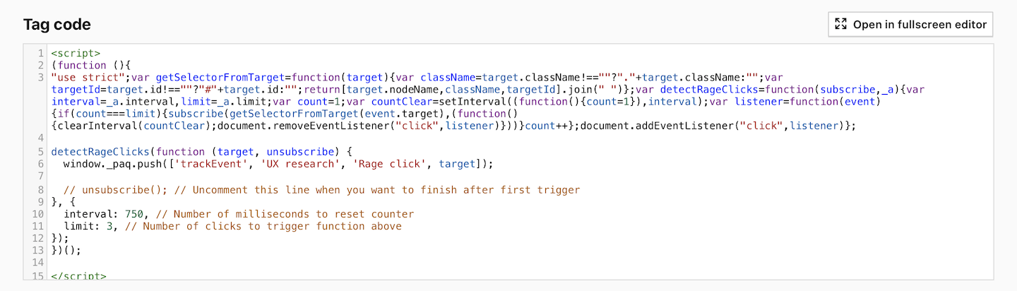 Custom tag for detecting rage clicks in Piwik PRO