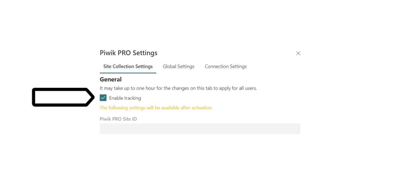 Turn on tracking for a site collection in SharePoint