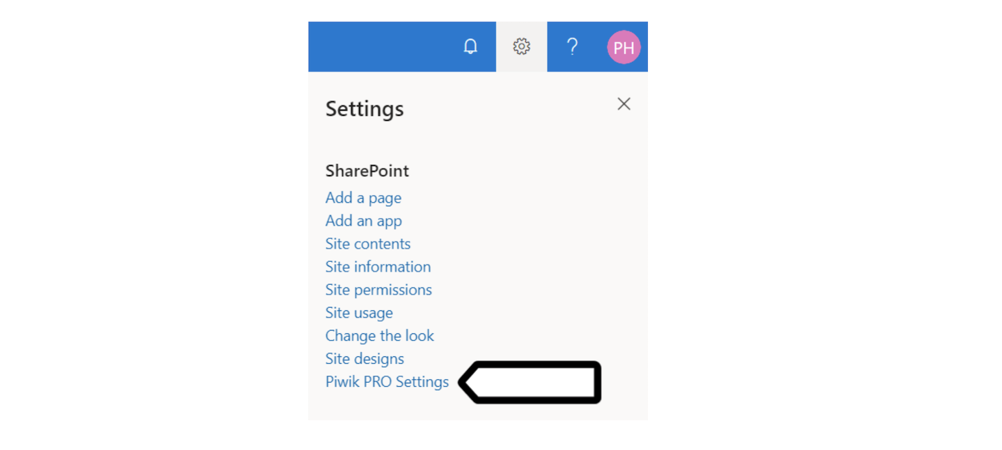 Piwik PRO settings in SharePoint