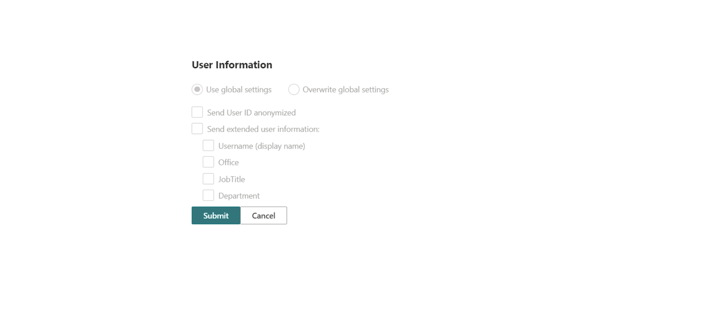User information in Piwik PRO settings in SharePoint