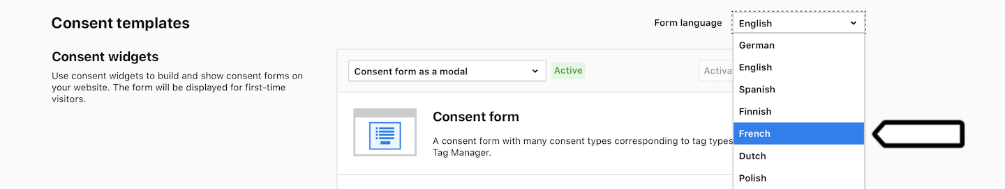 Language picker in Consent Manager