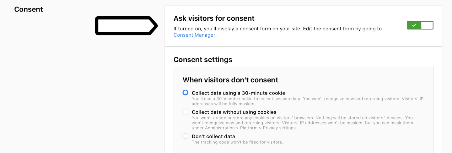 Ask visitors for consent (on)