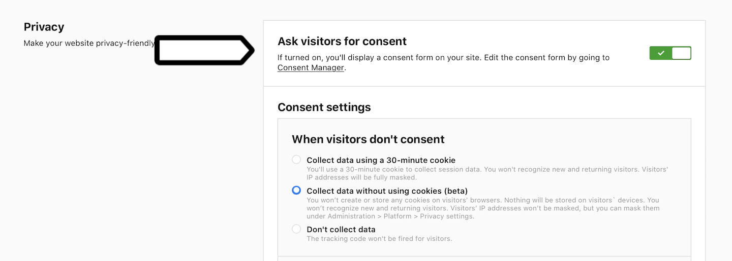 Ask visitors for consent