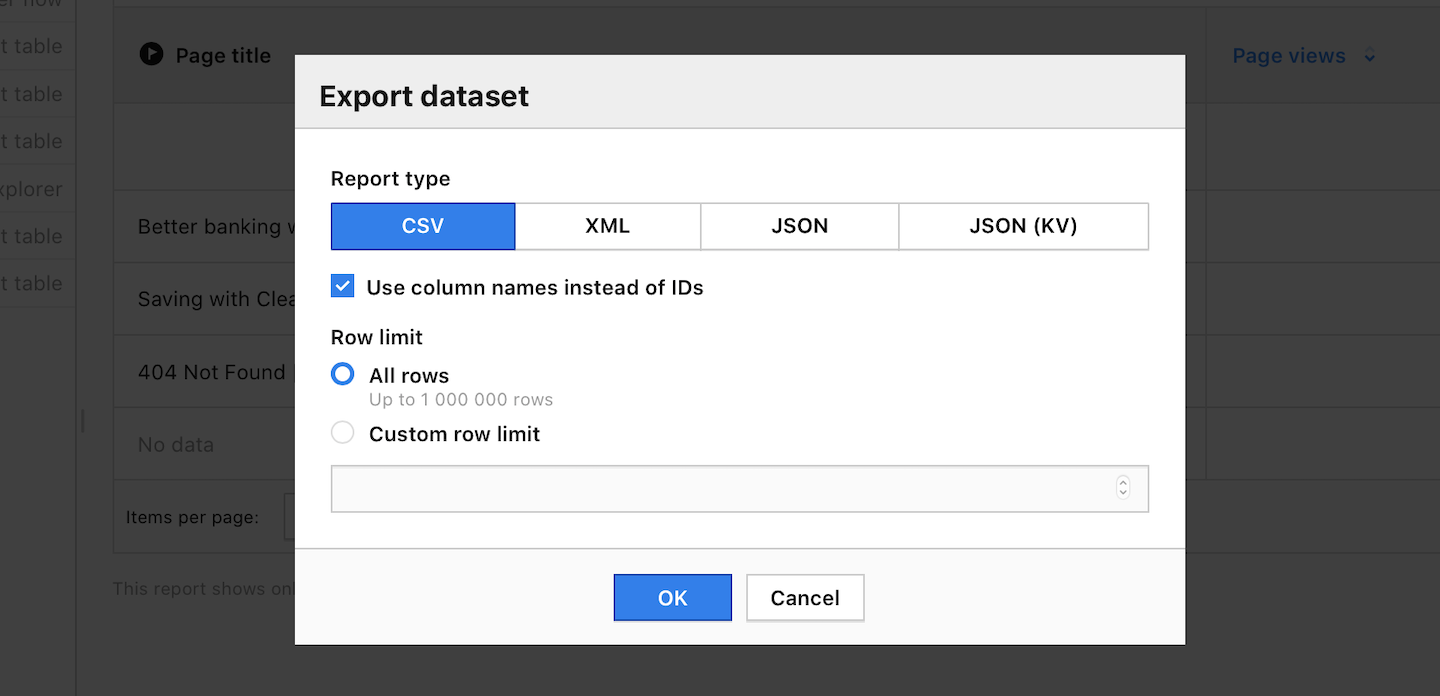 Export a report in Piwik PRO
