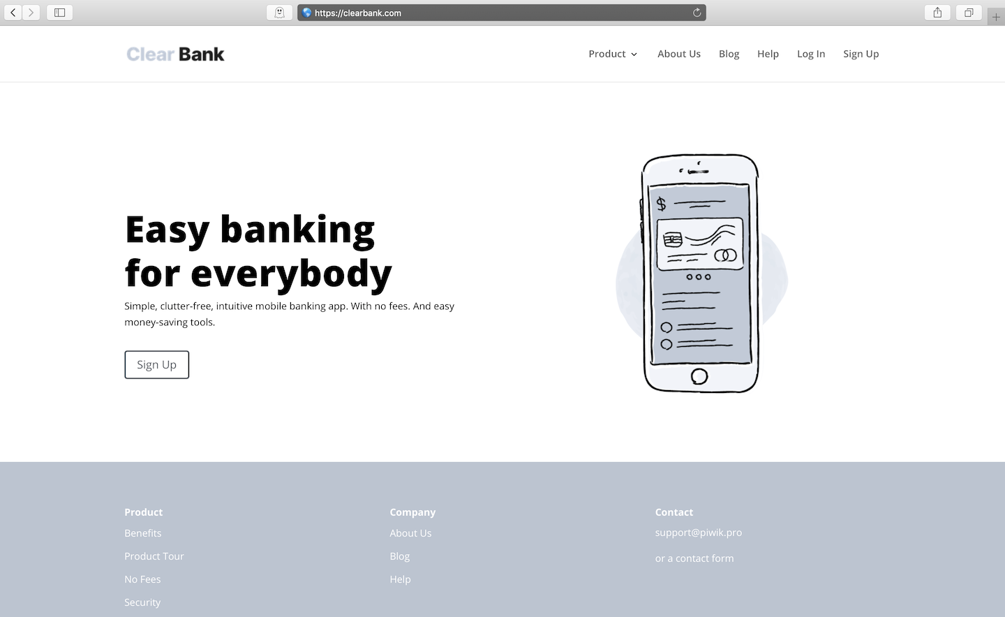 Clear Bank demo site for Piwik PRO
