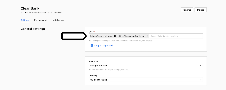 Site or app address in Piwik PRO