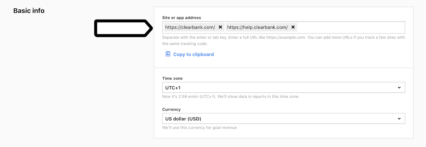 Site or app address (two subdomains added)