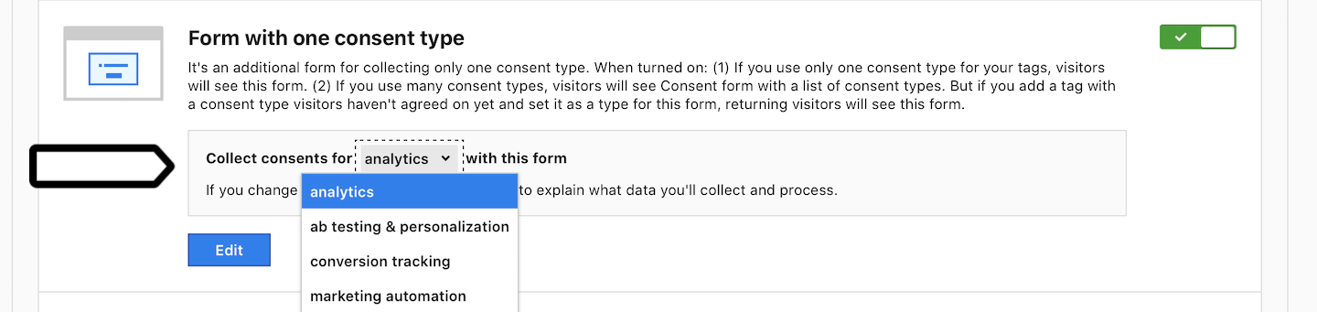 Form with one consent type (type)