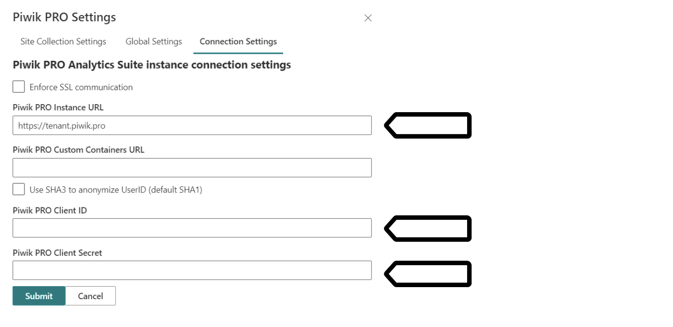 SharePoint connector (settings)