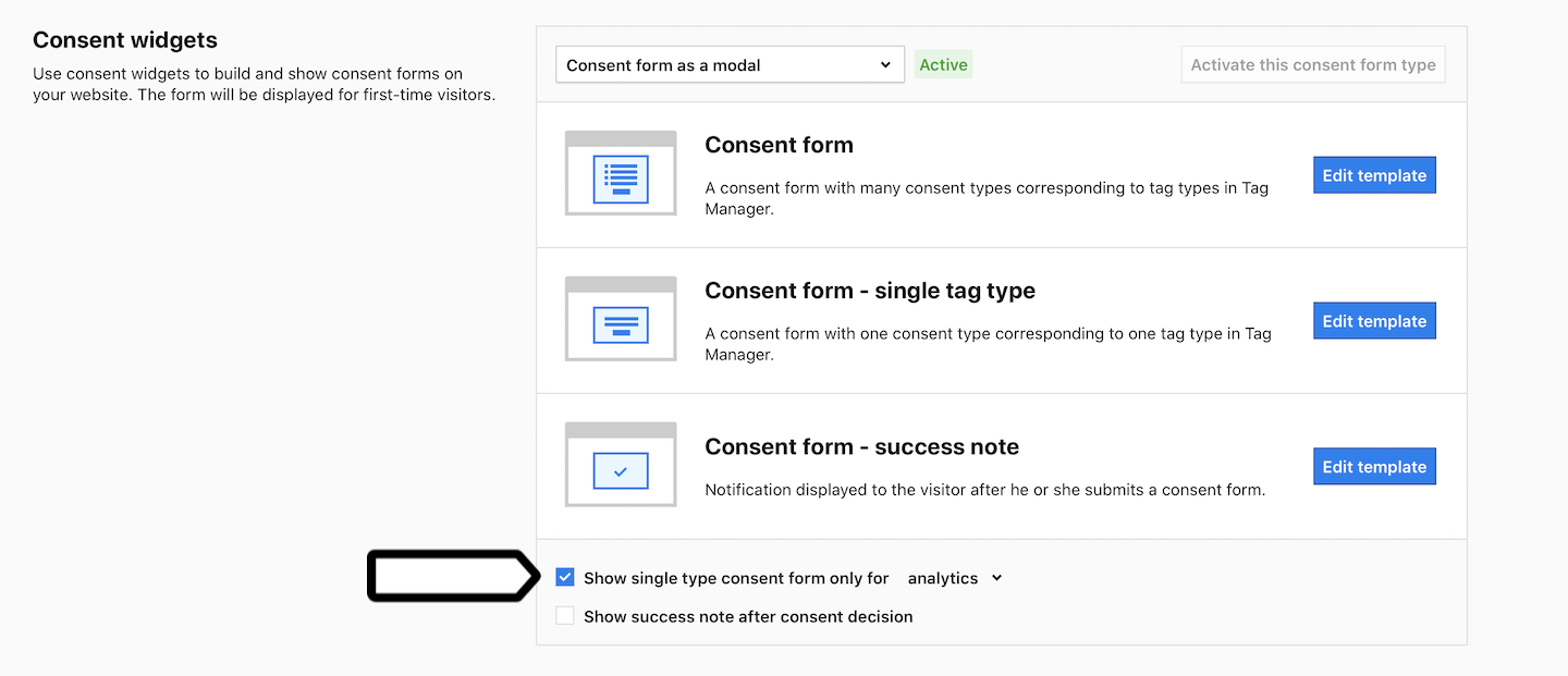 Consent form setup in Piwik PRO