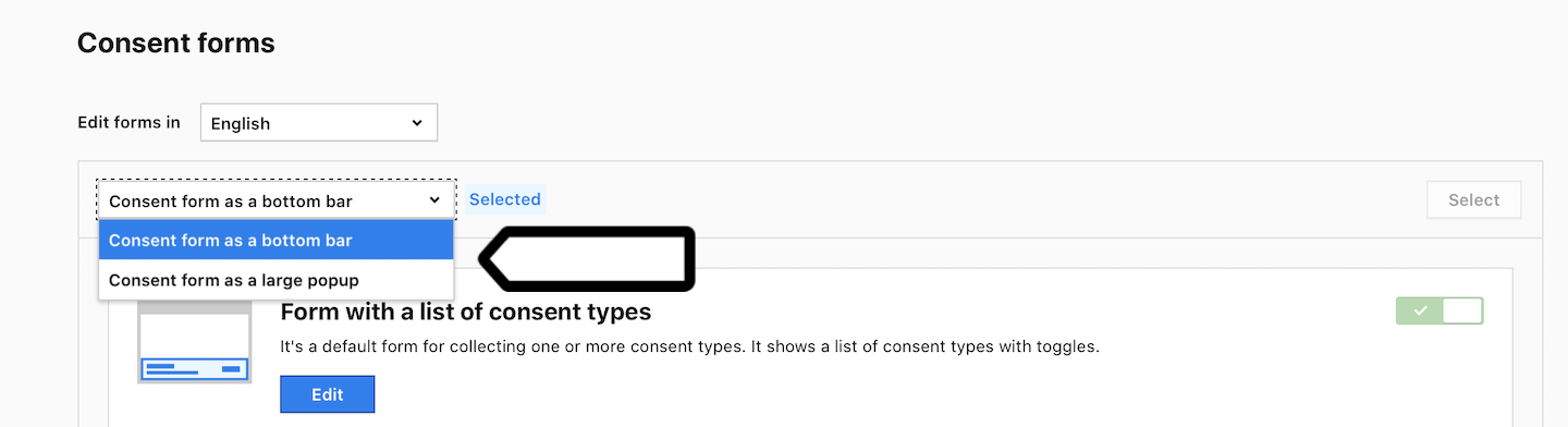 Consent form type