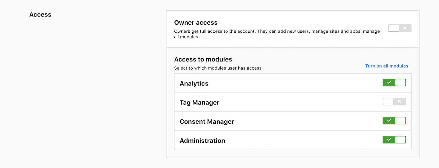 Access to modules (Administration)
